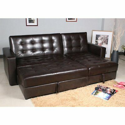 Brown Sofa Bed Storage Sleeper Chaise Couch Sectional Living Room