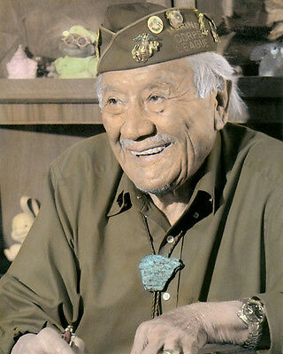 "ALLEN DALE JUNE NAVAJO CODE TALKER WWII 8x10"" HAND COLOR TINTED PHOTOGRAPH"