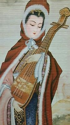 """Chinese scroll painting """"Chinese Lady Holding Musical instrument"""" 31.5W x 75cmL"""