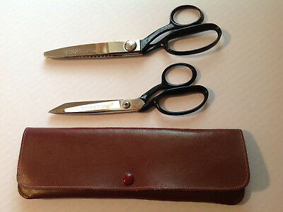 Vintage Pair Wiss Scissors & Case Leather Chrome Old Pinking USA Made Craft Work