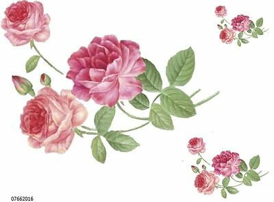 XL GorGeouS TriPLe PinK RoSeS ShaBby WaTerSLiDe DeCALs ~FuRNiTuRe SiZe~