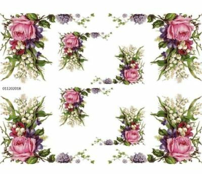VinTaGe IMaGe PinK RoSeS & LiLY of ThE VaLLeY CoRNeRs ShaBby DeCALs