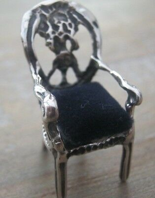 Sweet Hallmarked Balloon Back Chair Sterling Silver Pin Cushion - Or Dolls House