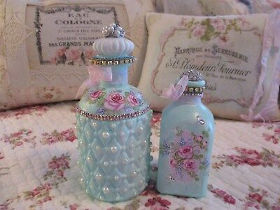 Shabby Chic Hand Painted Roses - Set of Two Decorated Bottles