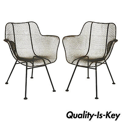 Pair of Vtg Russell Woodard Sculptura Metal Mesh Wrought Iron Dining Arm Chairs