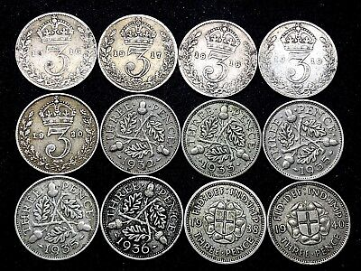 Great Britain Lot Of ~ 12  Silver~ 3 Pence Coins (1916-1940) King George V & Vi