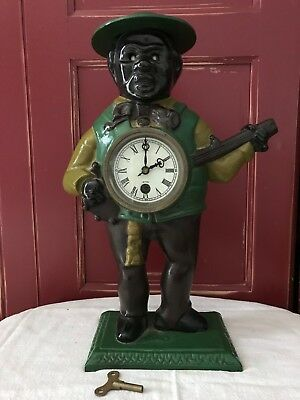 Black Americana, Cast Iron Banjo Player Clock with Key