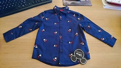 New 12-18 months Disney Blue Mickey Mouse Long Sleeve Shirt