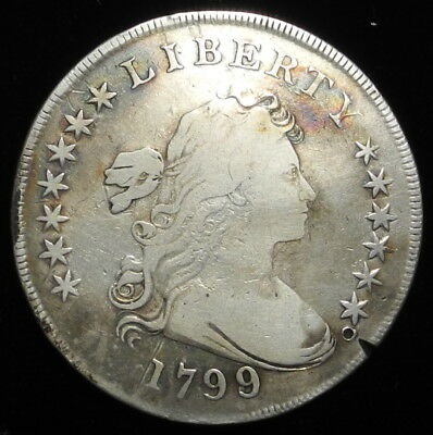 1799 99/98 Draped Bust 13 Stars Silver Dollar $1 Key Date Genuine Authentic