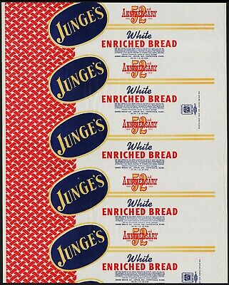Vintage bread wrapper JUNGES 52nd anniv 1952 Joplin Missouri Coffeyville Kansas