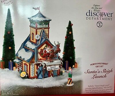 DEPT 56 North Pole Series Gift Set - Santa's Sleigh Launch - GUC