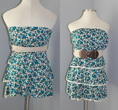 NWT Caren Sport Ruffle Floral Tube Top With Belt Blue Womens Plus Size 3X HW4238