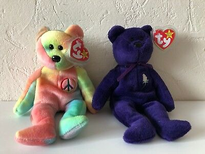 TY Beanie Babies Princess Diana & Peace Bears Set