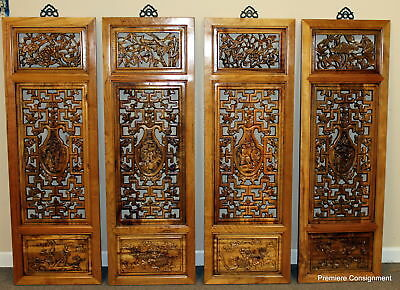 "Vintage Large Hand Carved Wooden Asian/Oriental Window Panes ""4 Seasons"""