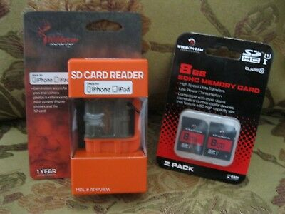 WILDGAME iPHONE / iPAD SD CARD READER PLUS 2 8GB SD CARDS