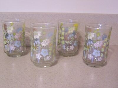 VTG 4 Libby Swanky Swig Small Juice Glass  Chartreuse green blue white flowers
