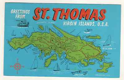 Postcard Map Of St. Thomas Virgin Islands USA  1971
