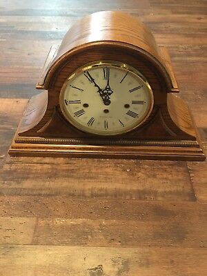 Vintage Howard Miller Mantel Clock -- Model 340-020 - - Oak Finish