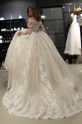 Luxury Applique Beaded Lace Wedding Dresses Off-Shoulder Long Sleeve Bridal Gown