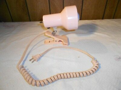 VTG Adustable Clip-On Metal Desk Lamp Bed Table Reading Light Pink Springy Cord