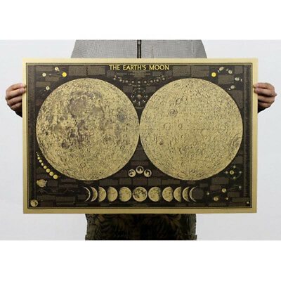 Vintage Retro Paper The Earth's Moon World Map Poster Home Decor Wall Sticker CN