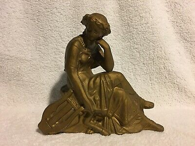Antique VICTORIAN Era BRONZED Figural LADY & HARP STATUE Old CLOCK TOPPER