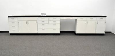 15' Base Laboratory Cabinets w/ Tops & One Desk Stock#- PAOPEN-1