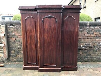 Victorian Breakfront Triple Wardrobe Mahogany Flamed With Drawers Hooks