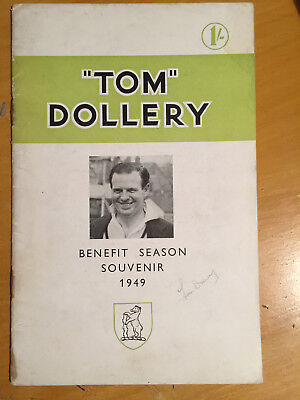 1949 Signed Tom Dollery Benefit Season Souvenir Brochure Warwickshire CCC