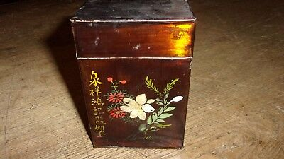 Antique Tea Tin With Hand Painting & Writing Over A Nice Japanned Finish