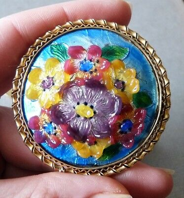 Antique Vintage French Enamel Brooch Signed Bijou Ancien Broche Email Et Pl Or