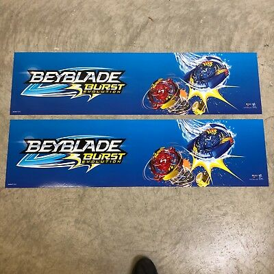 (2) Beyblade Burst Evolution Store Display Sign Banner 48X12 Double Sided