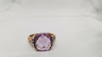 585 GELB GOLD  RING AMETHYST +ZIRKON  in 585er 14K Gelbgold TOP