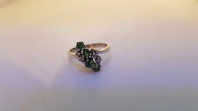 Vintage Design Ring 0,08 ct Brillant & 0,35 ct Smaragd  Ring 585 Weiss Gold Ring