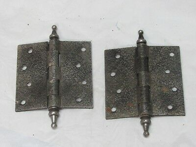 "Pair of Antique Cast Iron Steeple Tip Door Hinges 4""x4"""