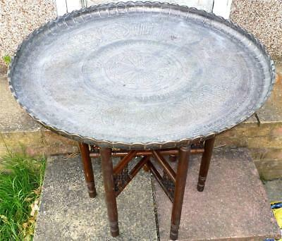 Antique Persian Qajar Ottoman Islamic Art Large Heavy Copper Table Tray + Stand