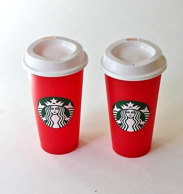 2 Starbucks Reusable Holliday Red Cups BRAND NEW