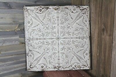 "Vintage Antique Tin Ceiling Tile Old Torch Floral Design 24 1/2"" x 24 1/2"""