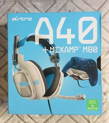 Astro A40 HEADSET + MIXAMP M80(Gray/Blue) Headset for Microsoft Xbox One