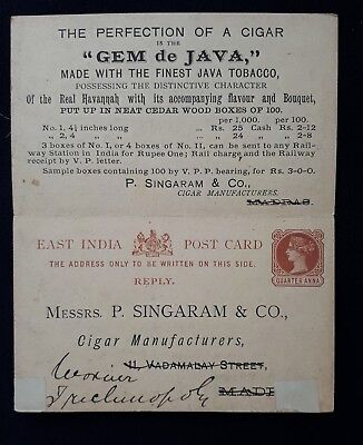 East India Qv 1888 Reply Postcard Singaram Cigars To Civil Surgeon Murshidabad