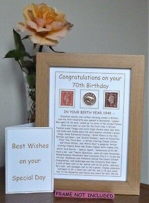 BEST 70th BIRTHDAY GIFT & CARD  1949 YEAR COIN & POSTAGE STAMPS ADD A NAME FREE