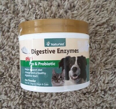 NaturVet  Digestive Enzymes Plus Probiotic  For Dogs   Cats   Powder  4 oz  114