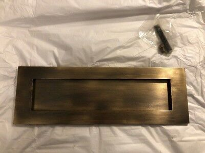 Antique Brass Large Victorian Letterbox Plate + Fixings - NEW AND UNUSED