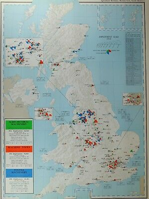 VINTAGE LARGE MAP of BRITAIN AGRICULTURAL MACHINERY MACHINE TOOLS TEXTILE