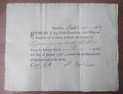 1783 American Revolutionary War Payment Document From Benjamin Graves, Army