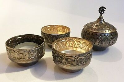 Vintage Metal Islamic -Moon & Star -Lidded Bowl with 3 Small Metal Dishes