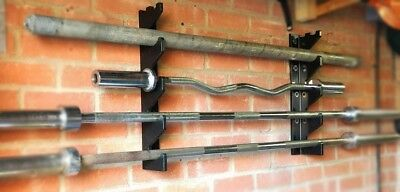 Barbell Holder Wall Mounted Storage Rack - 4 Bar & Accessory Storage - Gun Rack