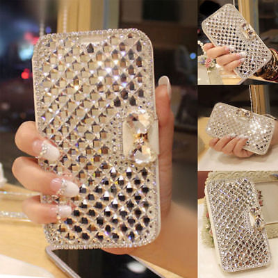 Bling Diamond Bowknot Crystal Flip Wallet Case Cover For iPhone 7 8+ X XR XS MAX