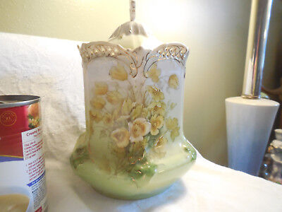 Antique Green Biscuit or Cracker Jar Handapainted Flowers