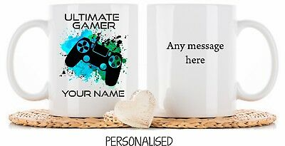 Personalised Gaming PS4 playstation mug Cup Coaster Christmas Birthday Gift dad